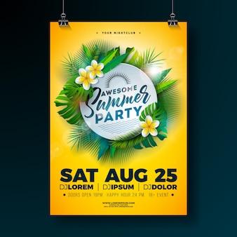 Progettazione di volantino festa estiva di vettore con fiore e foglie di palma tropicali