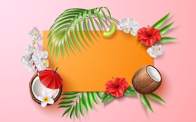 Poster estivo vettoriale foglie tropicali fiori frutti
