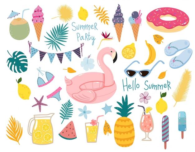 Vector set estivo con piscina galleggianti, cocktail, frutta tropicale, gelati, foglie di palma.