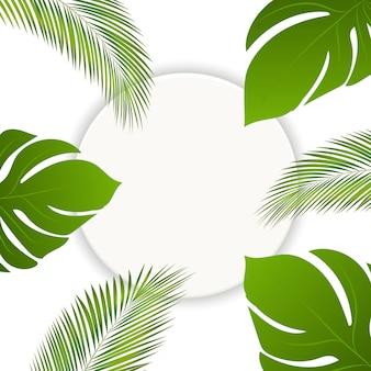 Vector estate foglie tropicali cornice rotonda sfondo Vettore Premium