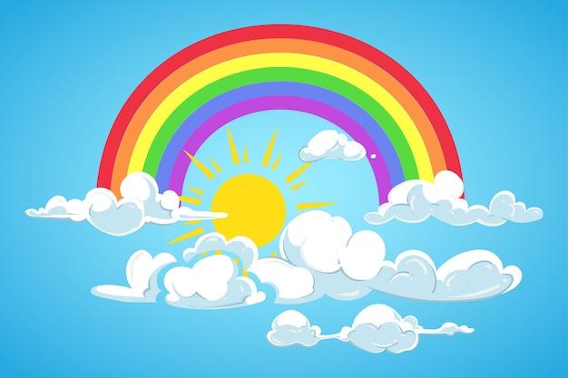 Vector il sole, l'arcobaleno e le nuvole cielo blu