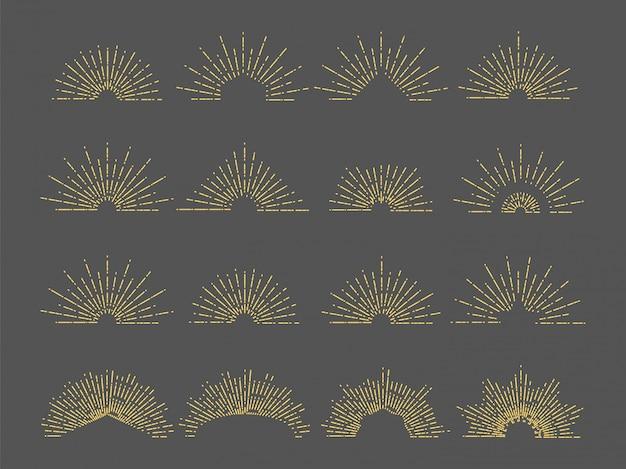 Emblema dello sprazzo di sole di vettore. illustrazione di raggi radiali di linea. set di scoppio d'oro vintage per logo, biglietti, invito