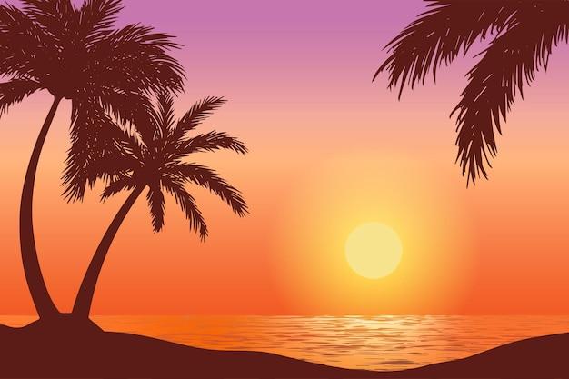 Tramonto vettoriale sulla spiaggia tropicale, illustrazione di paesaggi naturali con silhouette di palme palm