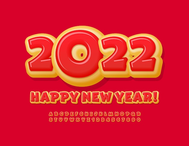 Vector dolce biglietto di auguri happy new year 2022 bright donut font alphabet letters and numbers set