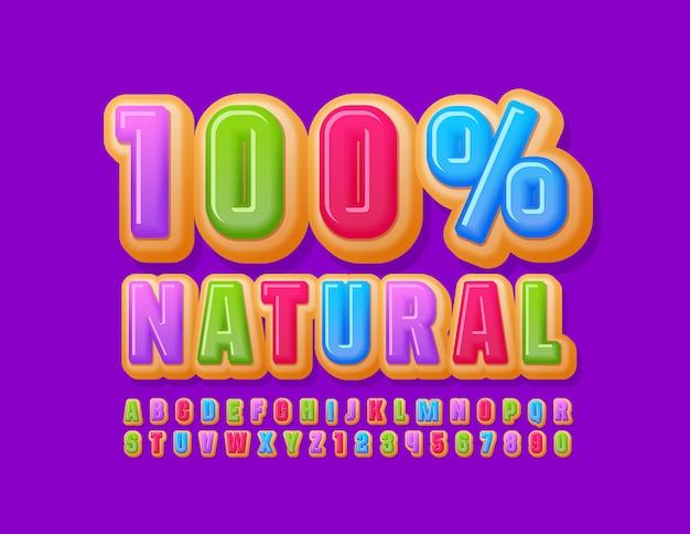 Vector dolce segno 100% naturale con carattere colorato ciambella. lettere e numeri dell'alfabeto torta brillante
