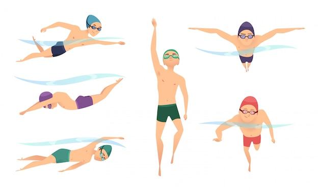 Nuotatori vettoriali. vari personaggi nuotatori in azione pone
