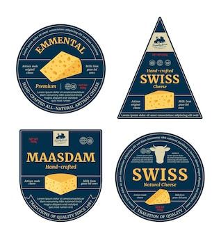 Etichette di formaggio svizzero di vettore ed elementi di design di imballaggio