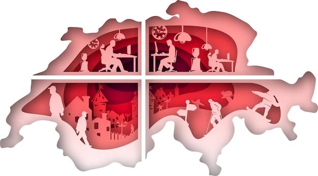 Vector svizzera in stile arte cartacea. arte digitale