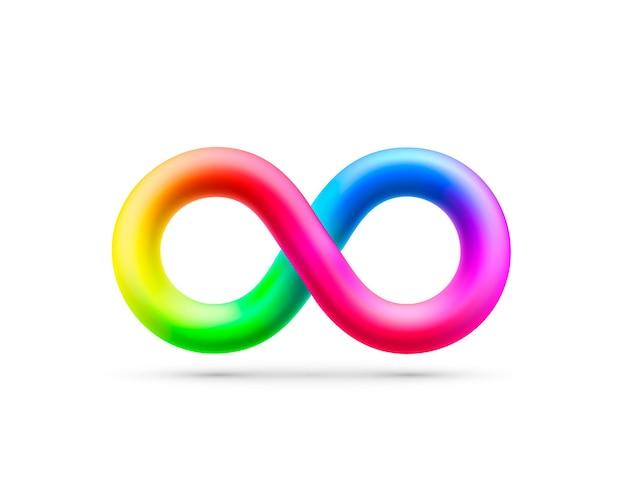 Simbolo di vettore dell'arcobaleno infinito, elemento di design. illustrazione vettoriale