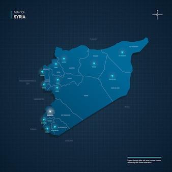 Illustrazione di mappa siria vettoriale con punti luce al neon blu
