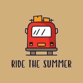 T-shirt design vettoriale con roulotte rossa che guida sopra la scritta ride the summer su sfondo marrone