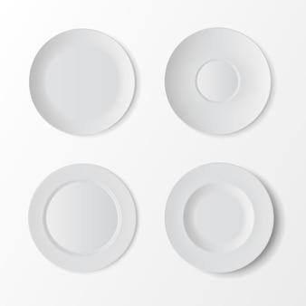Set da tavola di vettore di piatti vuoti bianchi
