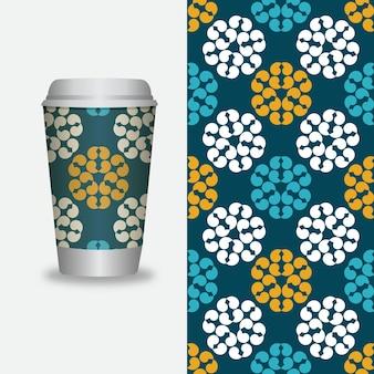 Vector take away modelli di confezionamento del caffè ed elementi di design per le caffetterie