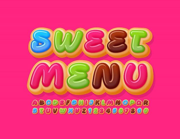Modello gustoso di vettore menu dolce. carattere colorato ciambella. deliziosa torta alfabeto lettere e numeri