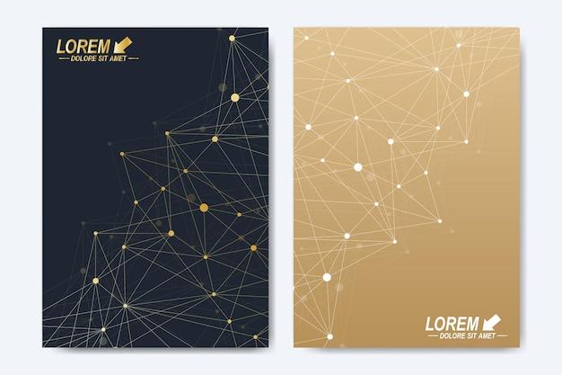 Modello vettoriale per brochure, depliant, flyer, pubblicità, copertina, catalogo, rivista o relazione annuale. molecola di fondo geometrico e comunicazione. punti cibernetici dorati. linee plesso. superficie della carta.