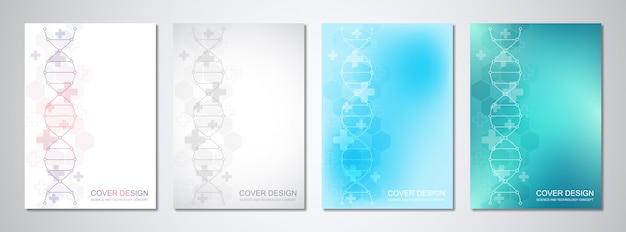 Modello di vettore per copertina o brochure, con sfondo di molecole e filamento di dna.