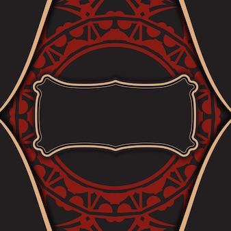 Modello di vettore per la stampa di biglietti da visita di design in nero con ornamento greco rosso. preparare biglietti da visita con un posto per il testo e motivi astratti.