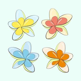 Insieme del modello di vettore di piante e fiori. collezione di plumeria multicolore. quattro opzioni. illustrazione di riserva.