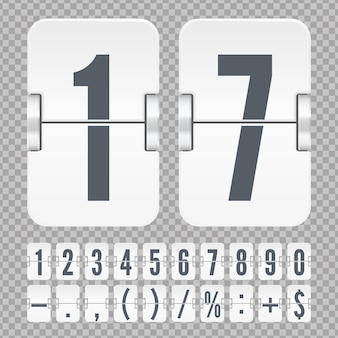 Modello vettoriale per contatore del tempo o timer della pagina web. numeri e simboli di vibrazione bianchi su un tabellone segnapunti meccanico isolato su sfondo trasparente.