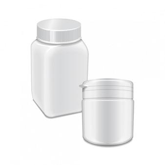 Modello di vettore della bottiglia di plastica bianca con tappo a vite per medicina, pillole, schede.