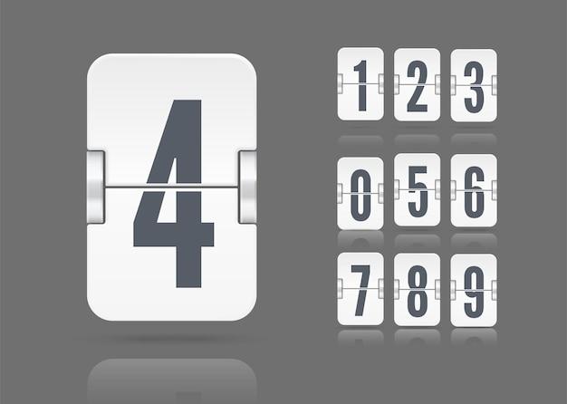 Modello vettoriale con numeri e riflessi del tabellone a fogli mobili che galleggiano su un'altezza diversa per il conto alla rovescia bianco o il calendario isolato su sfondo scuro.