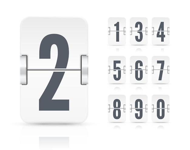 Modello vettoriale con numeri e riflessioni del tabellone segnapunti a vibrazione leggera per il timer per il conto alla rovescia bianco o il calendario isolato su sfondo bianco.