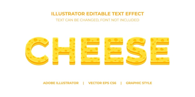 Vector text effect illustrator graphic style cheese