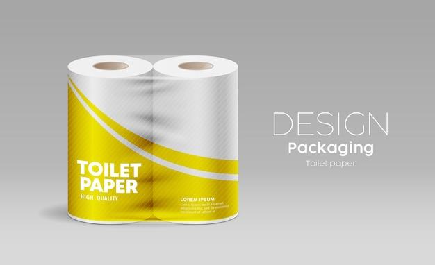 Modello di rotolo di imballaggio in plastica di carta igienica vettoriale design giallo su sfondo grigio