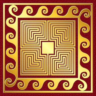 Ornamento greco oro vintage tradizionale di vettore, meandro