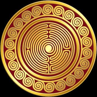 Vector ornamento greco tradizionale oro vintage, meandro
