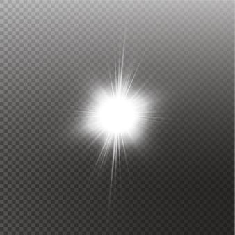 Vector luce solare trasparente lente speciale bagliore effetto luce. sole isolato. effetto luce bagliore.