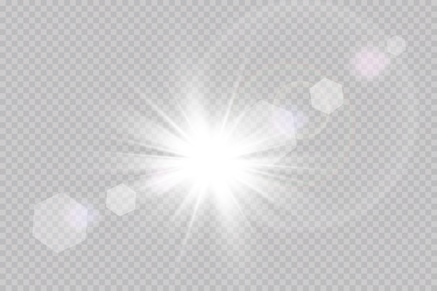 Vector luce solare trasparente lente speciale bagliore effetto luce.
