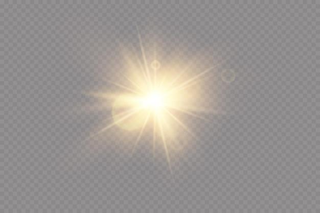 Effetto luce del riflesso della lente speciale della luce solare trasparente vettoriale