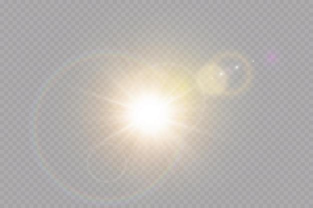 Vettore trasparente luce solare speciale effetto luce bagliore dell'obiettivo
