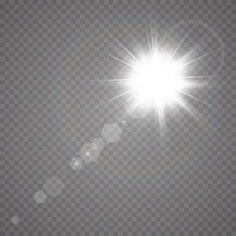 Vector luce solare trasparente lente speciale flare effetto luce
