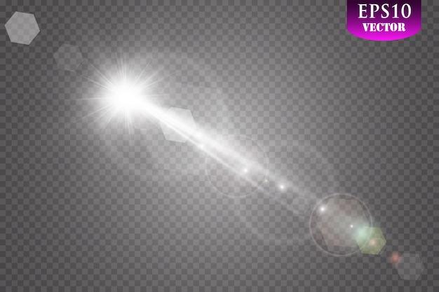 Vector luce solare trasparente lente speciale bagliore effetto luce