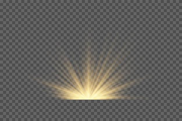 Lente speciale luce solare trasparente vettoriale effetto luce flash. lente solare anteriore flash. sfocatura vettoriale alla luce della luminosità. elemento di arredo. raggi stellari orizzontali e riflettore