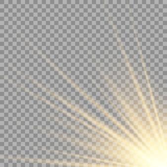 Effetto luce flash con lente speciale per la luce solare trasparente vettoriale.