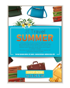 Banner di viaggio vettoriale 3d realistico bagagli viaggio estivo concetto turistico flyer