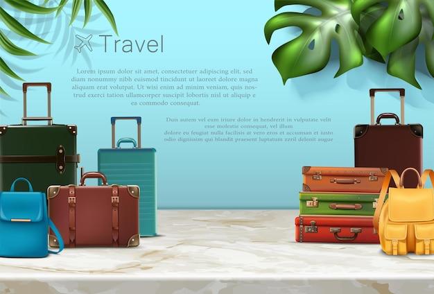 Banner di viaggio vettoriale banner o poster realistico di concetto di viaggio vettoriale con elementi turistici