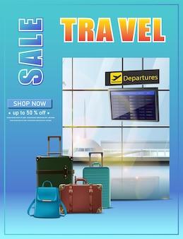 Banner di viaggio vettoriale banner di viaggio vettoriale volantino di vacanza vettoriale con programma di volo e bagagli o