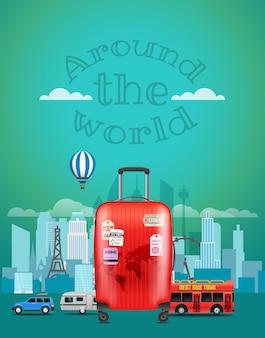 Illustrazione di viaggio vettoriale con la borsa rossa