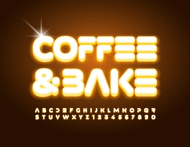 Banner vettoriale alla moda caffè e cuocere carattere elettrico moderno alfabeto giallo lettere e numeri impostati