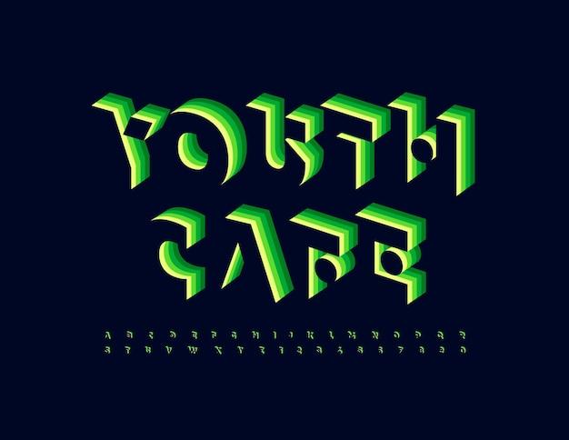 Emblema vettoriale alla moda youth cafe green a strati font stile astratto alfabeto lettere e numeri set