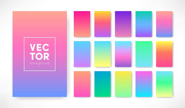 Set di sfondo di colore sfumato alla moda vettoriale. disegno di copertina sfumato colorato vivido verticale