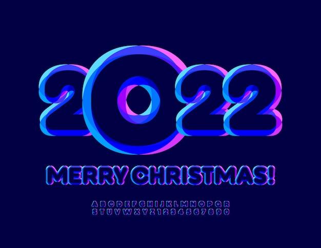 Biglietto d'auguri alla moda vettoriale buon natale 2022 carattere luminoso colorato set di alfabeto artistico