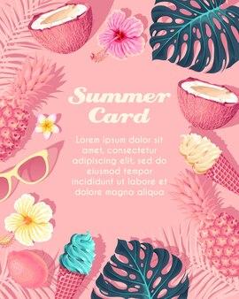 Carta tropico vettoriale con gelato e frutta su sfondo rosa