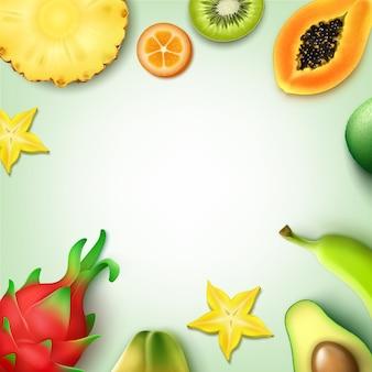 Vector sfondo di frutti tropicali con copyspace intero e mezzo tagliato ananas, kiwi, papaia, banana, carambola, kumquat, dragonfruit, vista dall'alto di avocado