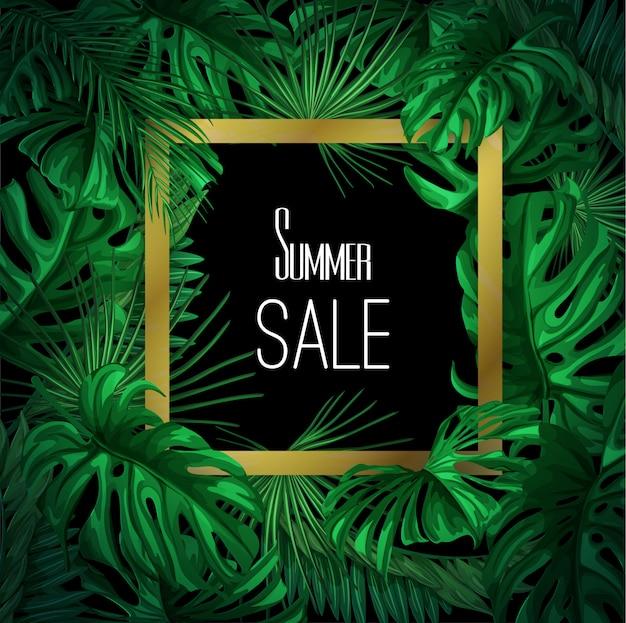 Modello tropicale dell'insegna di vendita di estate delle foglie di vettore.