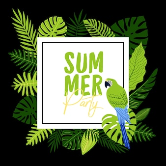 Volantino festa tropicale vettoriale con foglie di mostro, palma, felce e ara verde. illustrazione estiva Vettore Premium